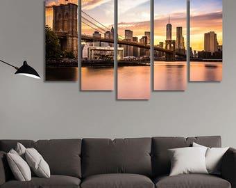 LARGE XL Brooklyn Bridge Viewed from Brooklyn Bridge Park Canvas City Skyline at Nightfall Print Wall Art Print Home Decoration - Stretched