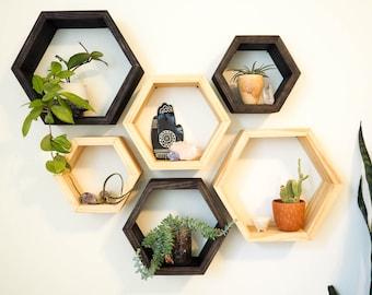 Hexagon Shelves, Modern Shelves, Geometric Shelves, Hexagon Shelf, Wooden Shelves, Mid-Century Modern, Floating Shelves, Honeycomb Shelves