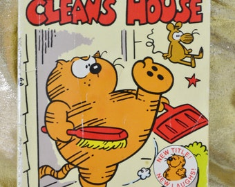 Heathcliff - Cleans House Comic Book - Paperbook - George Gately - Vintage - Children's Book - Kid's Book - 1985
