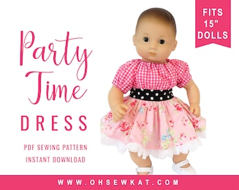 Bitty Baby Doll Clothes Sewing Pattern - 15 inch Baby Party Time Peasant Dress  easy to sew for baby doll like Bitty Twins and Bitty Baby