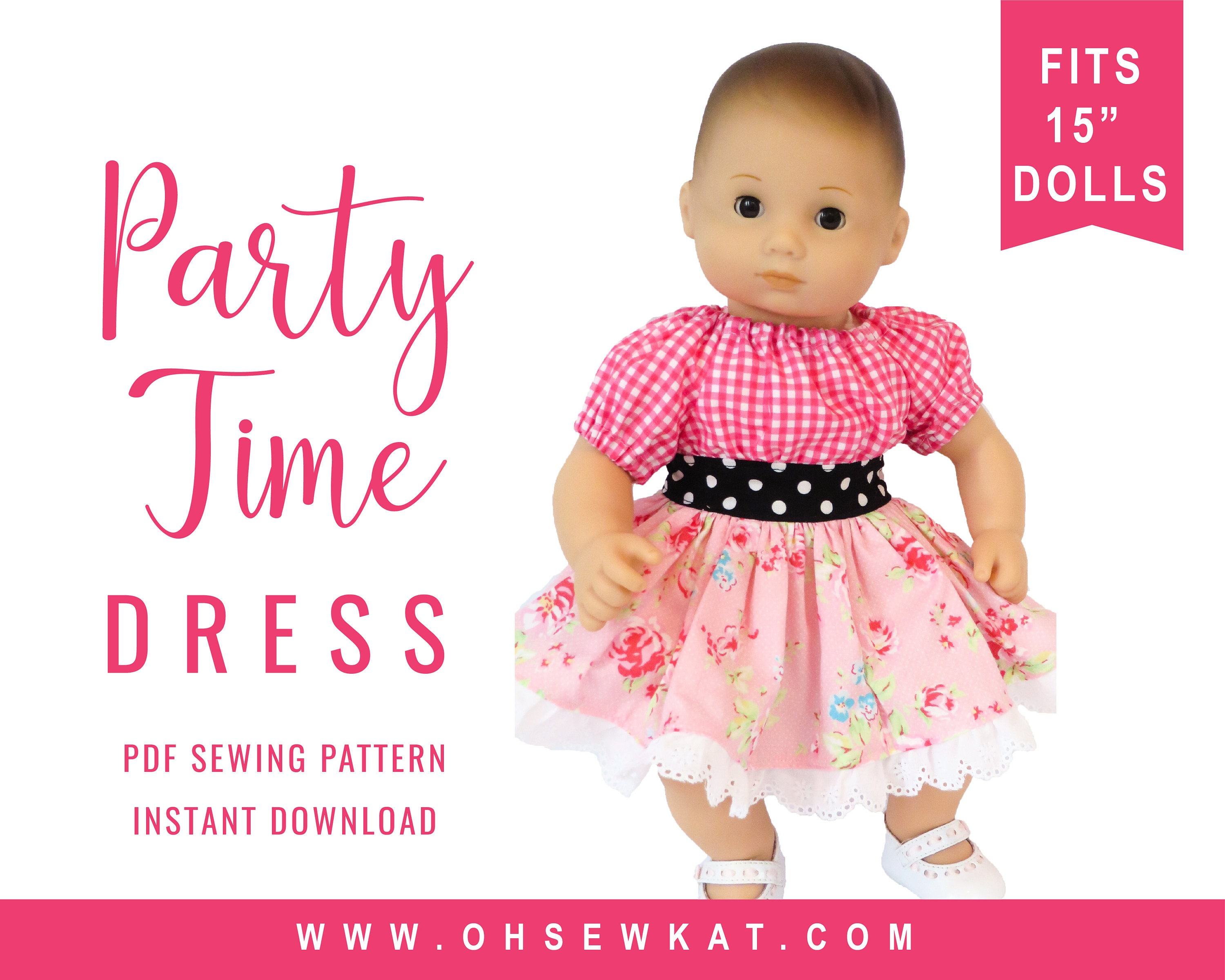 Bitty Baby Doll Clothes Sewing Pattern 15 inch Baby Party