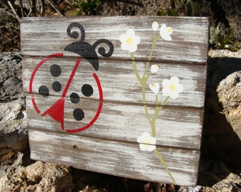 """Ladybug & flowers, handmade wall decor, approx 7""""wide x 6""""tall x 3/4"""" thick, rustic, country chic farmhouse decor"""