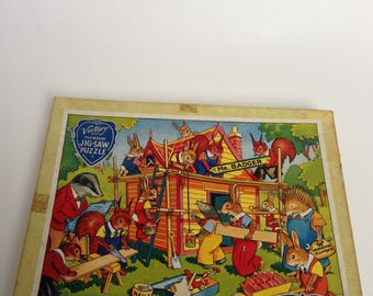 Lovely wooden vintage jigsaw puzzle Mr Badger's Home  puzzle vintage childrens puzzle