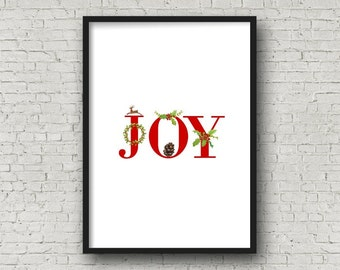 JOY Red CHRISTMAS Alphabet Printable, DIY Wall Art, Digital Download, Instant download, Christmas Banner