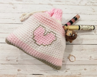 Drawstring Pouch : Pink Love draw string Pouch with Polka Dot Clasp