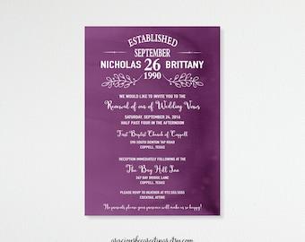 Vow Renewal Invitation, Anniversary, 5th, 15th, 20th, 25th, 35th, 40th, Wedding Invitation, Invite, Post Wedding, Purple, Digital,  V71351