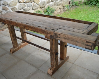 Vintage Rustic Reclaimed Industrial Loft Kitchen Island/Workbench/Butcher Block/Side Table/Console Table/Display Table