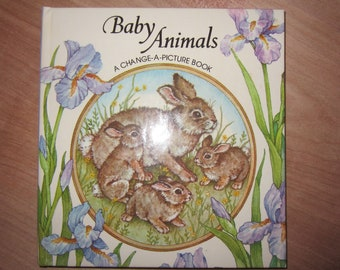 SALE Baby Animals Change-a-Picture Book. Discovery Toys Hardcover book. Interactive Children's Book.