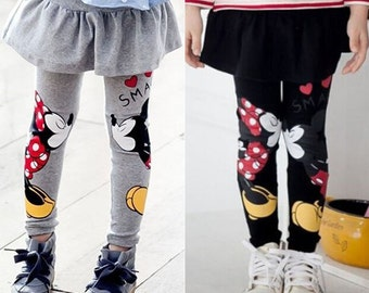 Mickey Minnie Mouse GRAY or BLACK Skirt Leggings - Kissing Smack Kiss Smooch