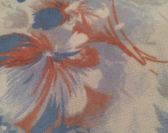 Knit Fabric, Vintage Fabric, Vintage Stretch Knit, Knit Fabric By The Yard, White Blue Brown Fabric, Light Weight Fabric, 2 pieces