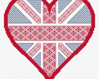 Heart of the Union Blackwork PDF Chart, Pattern