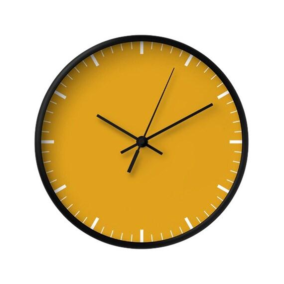 Classic Wall Clock 5 Colors Yellow Clock Mustard Wood