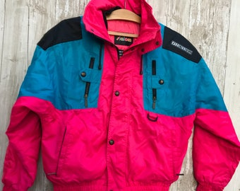 "RETRO Slalom Men's ""TOP GUN"" Bright Fuschia ski jacket for ski parties or theme days"