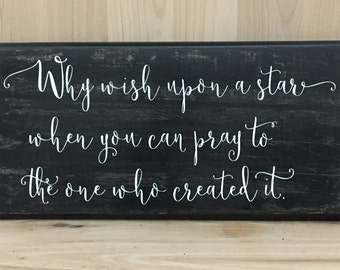 Wish upon a star sign, Christian wall art, religious sign, religious gift, religious wall art, inspirational sign, uplifting wall sign