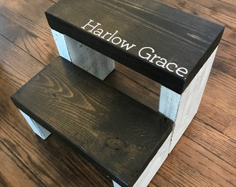 Personalized Rustic Kids Step Stool / Personalized Kid Step Stool / Personalized Toddler Step Stool / Wooden Step Stool / Rustic Step Stool