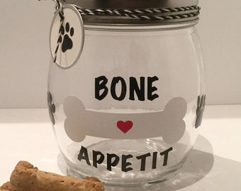 "Personalized Dog Treat Jar - Dog Treat Container - Dog Biscuit Jar - ""Bone Appetit"" Dog Treat Canister"