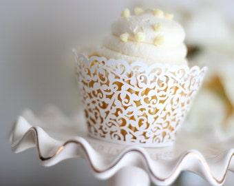 White Filigree Cupcake Wrapper