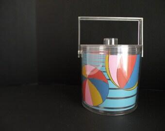 80s Vintage Insulated Ice Bucket Summer Beach House Decor