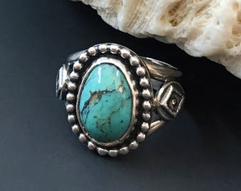 Kingman Turquoise Ring, Size 5 3/4 Pinky Ring, Artisan Handcrafted Sterling Silver Silversmith Bohemian Cocktail Ring Boho Chic Geometric