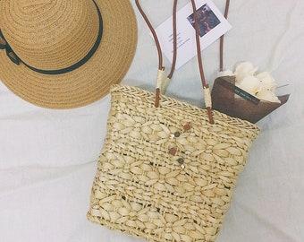 Handmade Straw Bag, Summer Straw Handbag, Handwoven Straw Tote Bag, Handmade Rustic Bag, Straw Bag, Summer Bag,moon package ,Beach bags
