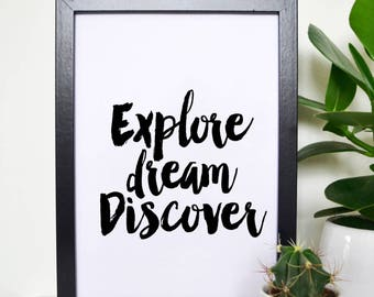 Explore, dream discover, mark twain quote, inspirational quote,instant download, wall decor, motivational quote, quote, typography print art