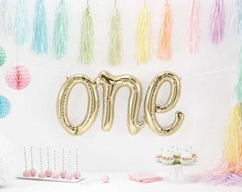 ONE Script Balloon, Gold ONE Balloon, First Birthday, Cake Smash Photo Prop, Balloon Banner, White Gold 1st Birthday Balloon, Letter Balloon