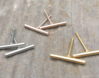 Rose Gold Stud Earrings, Rose Gold Earrings, Minimalist Bar Earrings