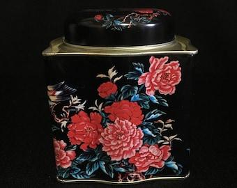 Vintage Beautiful Floral Asian Tea Tin Storage Container   (TTT14)
