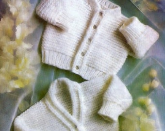 PDF Baby Knitting Pattern Copley 885 --EASY knit - Sport weight/DK/8ply cardigans 13-17ins Prem sizes