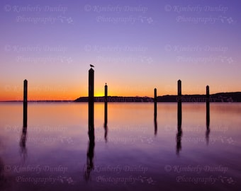 Fine Art Sunset Photograph {Serene Ocean Print, Coastal Seascape Photography, Coast Picture, Beach Artwork, Purple Blue Orange Yellow Pink}