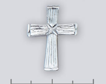 Wooden Cross Pendant -- 16mm x 21 mm   (.63 x .83 inches) -- Sterling Silver
