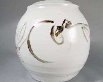 Taeko Tanaka, vintage studio pottery, porcelain persimmon vase, Warren MacKenzie interest