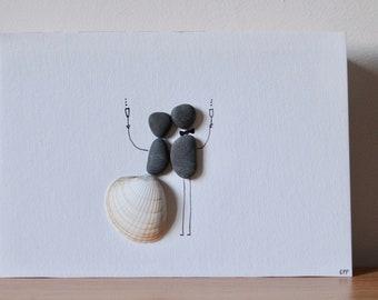 Married Couple Pebble Art - Gift for bride - Gift for wife - Wedding gift - Gift for her - Gift for friend - Celebration - love - Pebble Art