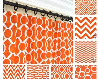 Orange Window Curtains.Red Orange Drapes.Geometric Curtains.Optional  Blackout Curtain.Window
