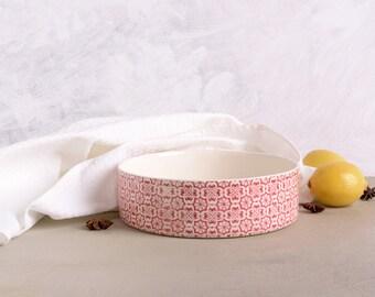 Ceramic Pan, Geometric Print, Rustic Baking Pan, Pottery Baking Dish, Pottery Centerpiece, Ceramic Bowl, Baking Gift, Housewarming Gift