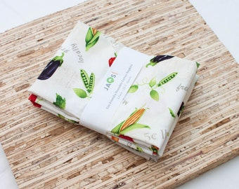 Large Cloth Napkins - Set of 4 - (N6388) - Farm Vegetables Modern Reusable Fabric Napkins