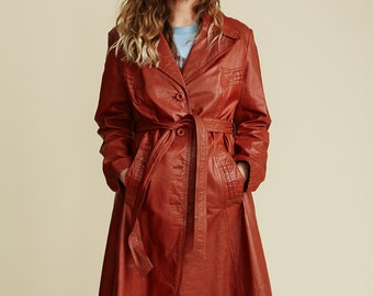 Ms. Pioneer Rust Leather Trench Coat // VINTAGE