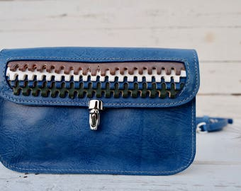 Blue leather, vegetal leather, shoulder bag, handmade