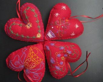 Felt Red Heart Christmas Ornament