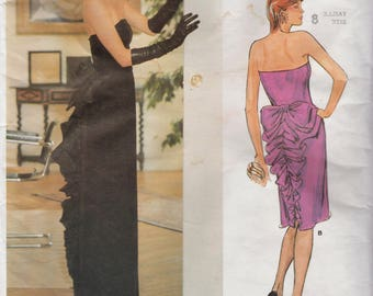 Vogue 1275 / Vintage Designer Sewing Pattern By Bellville Sassoon / Evening Dress Strapless Gown / Size 8