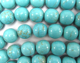 """14mm blue turquoise round beads 16"""" strand 37985"""