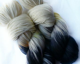 Hand dyed yarn, Chickadee, 100% super wash merino wool yarn, dk weight yarn, black yarn, white yarn, orange yarn, green yarn,