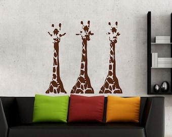 Giraffe Wall Decal  Animal Wall Decal Giraffes  Safari Jungle Vinyl Wall  Decals Bedroom Nursery