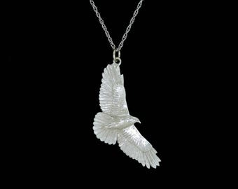 Solid 14k White Gold Soaring Red Tailed Hawk Pendant or Necklace (Optional Chain)