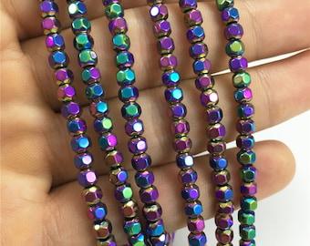 4mm Faceted Hematite Beads, Varicolored Hematite Beads, Hematite Jewelry