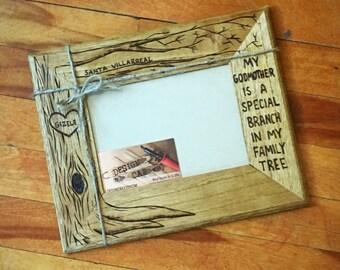 Godmother, godmom, god mother wood burned frame, 5x7 custom, god parent gift, personalized wood frame, baptism gift, Mother's Day, Easter