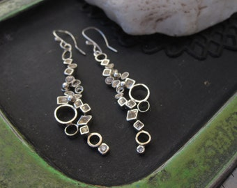 Cascading geometric shapes sterling silver dangle earrings