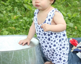 Navy Blue Star Romper / Kids Shorts Romper / Summer Onesie / Unisex Jumper / 4th of July Clothes / Baby Toddler Romper / 4th of July Outfit