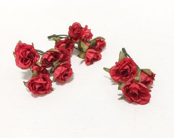 Artificial Flowers - 15 Tiny RED Mini Roses - Dry Look - Very SMALL Flowers