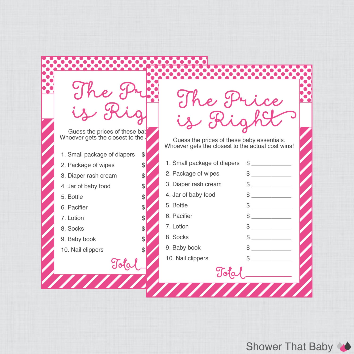 Baby Shower Price is Right Game in Pink Printable Instant